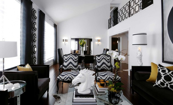 trendy black and white family room