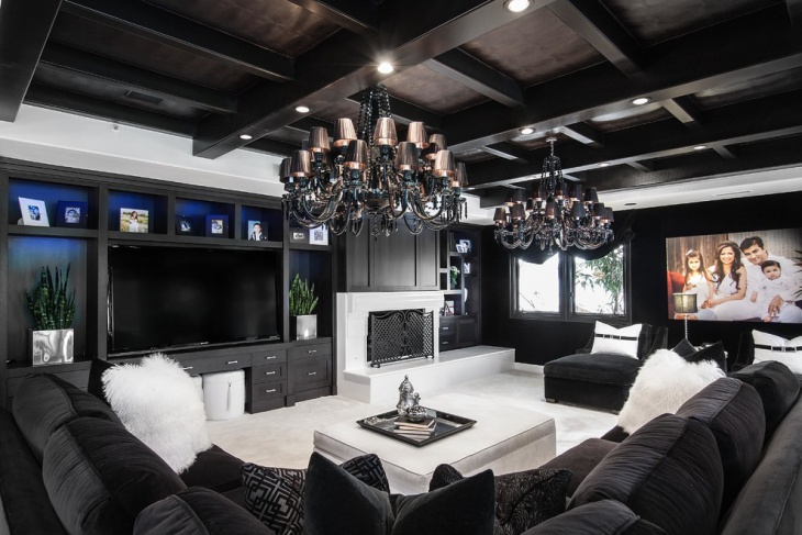 contemporary family room with gorgeous chandelier