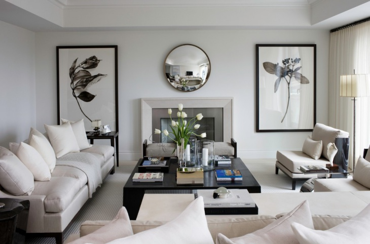 brighty white living room with black furniture