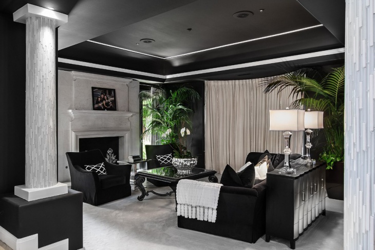 luxurious black and white family room
