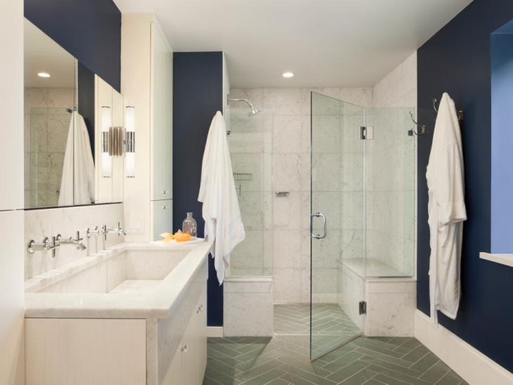 transitional master bathroom looks classic