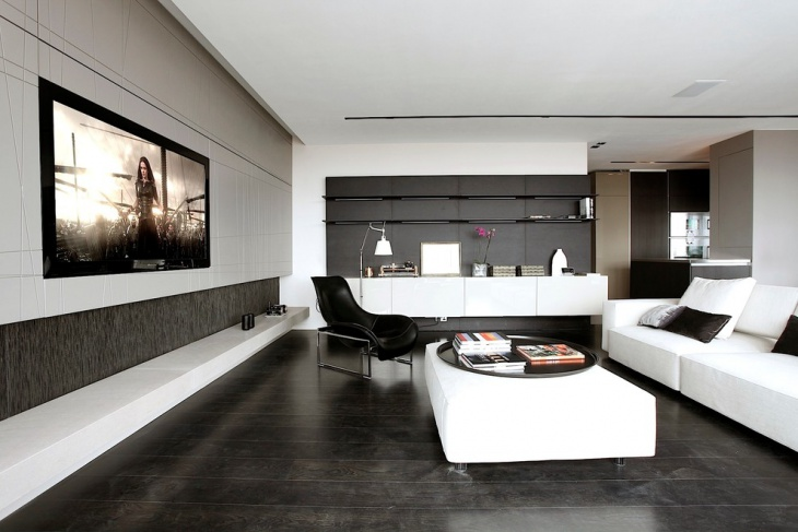 spacious black and white living room