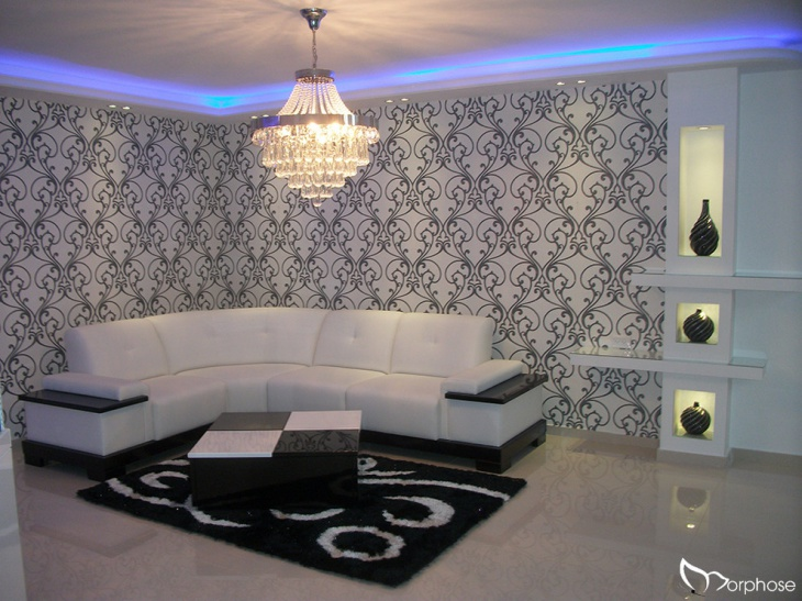 lavish black and white living room
