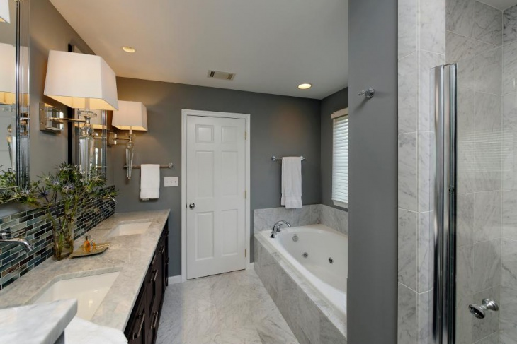 gray contemporary double vanity bathroom