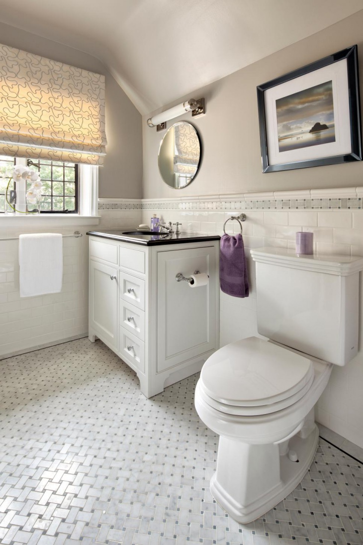 classic transitional guest bathroom design