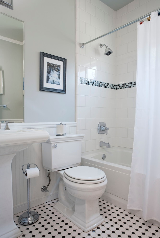 white tiles gives bathroom classic look