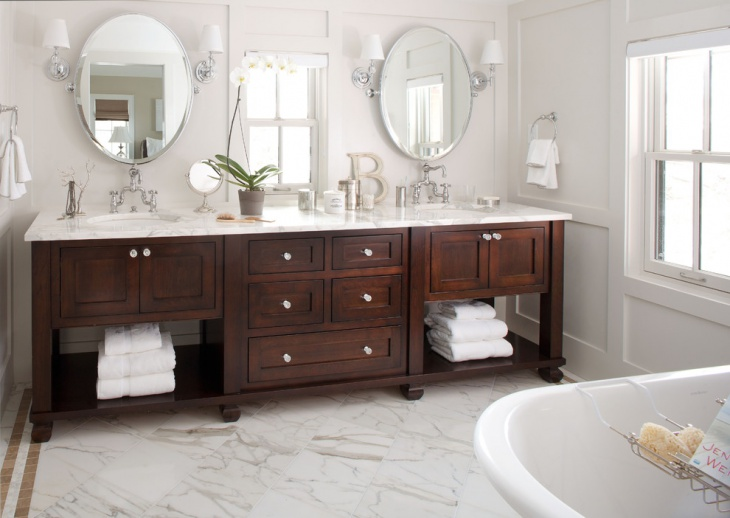 spacious bathroom with classic wood cabinets