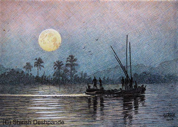 fishing in full moonlight