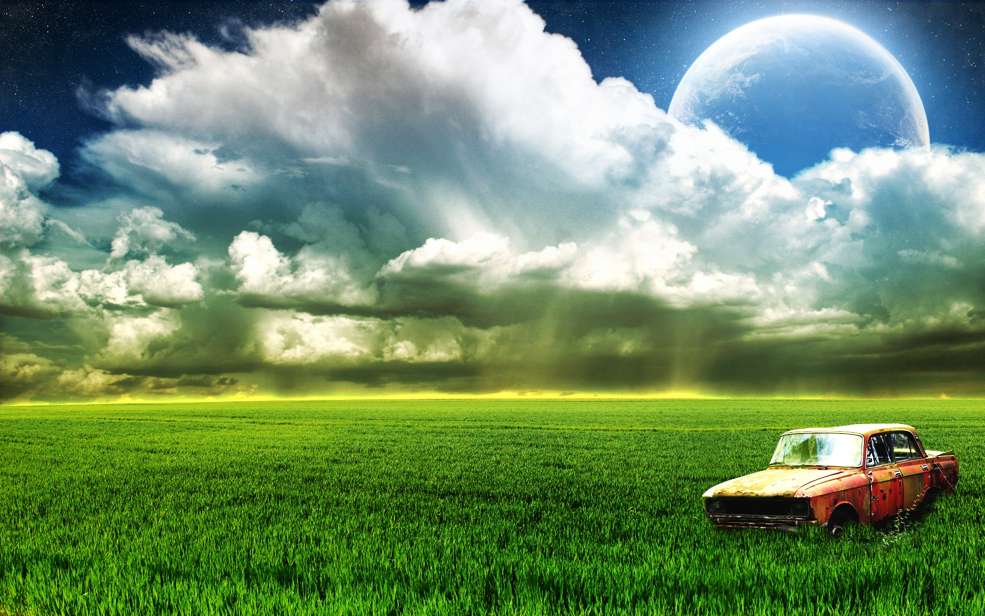 Farm Old Car Moon Clouds Wallpaper