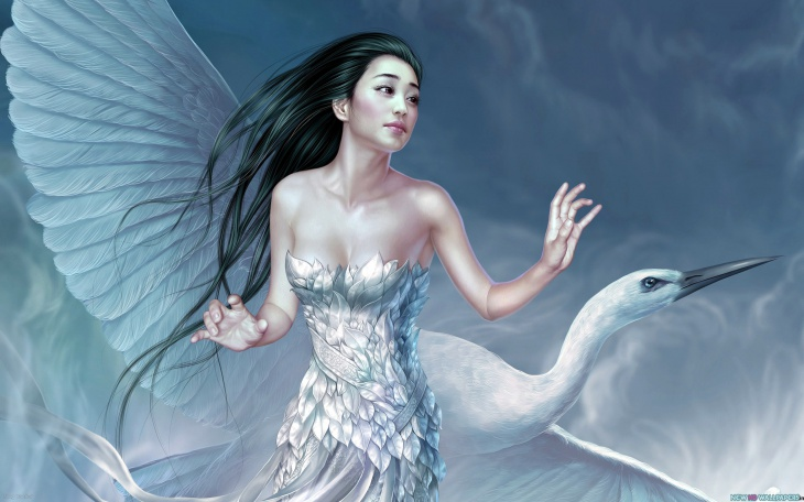 CG Asian Girl with Bird Fantasy Wallpaper
