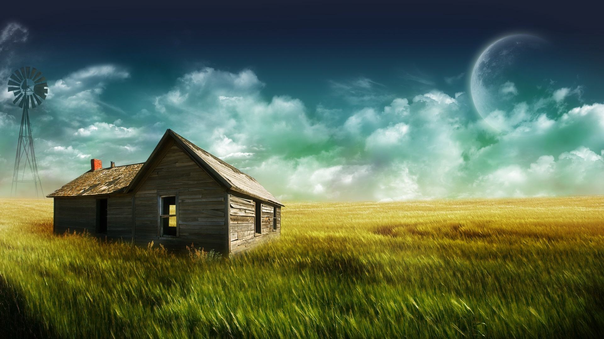 Stunning Dreamy and Fantasy House Wallpaper in a Green Field