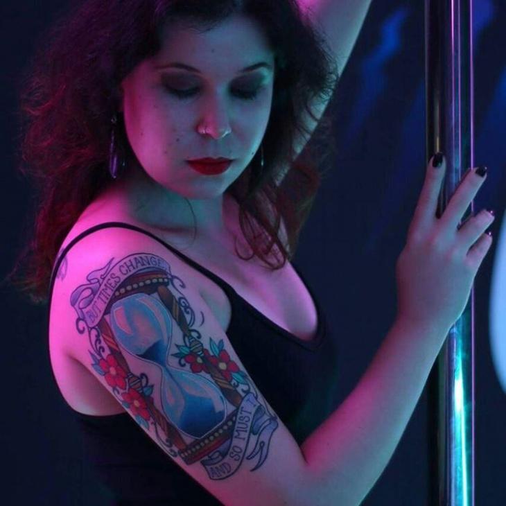 hourglass hand tattoo for women