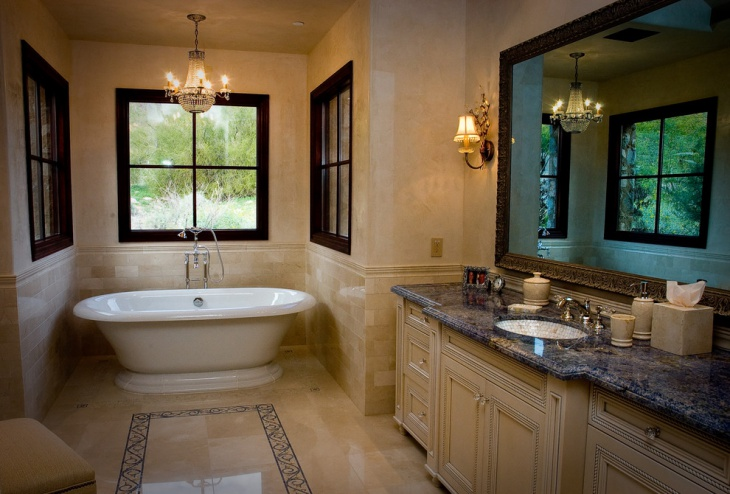 elegant bathroom with blue and gold granite