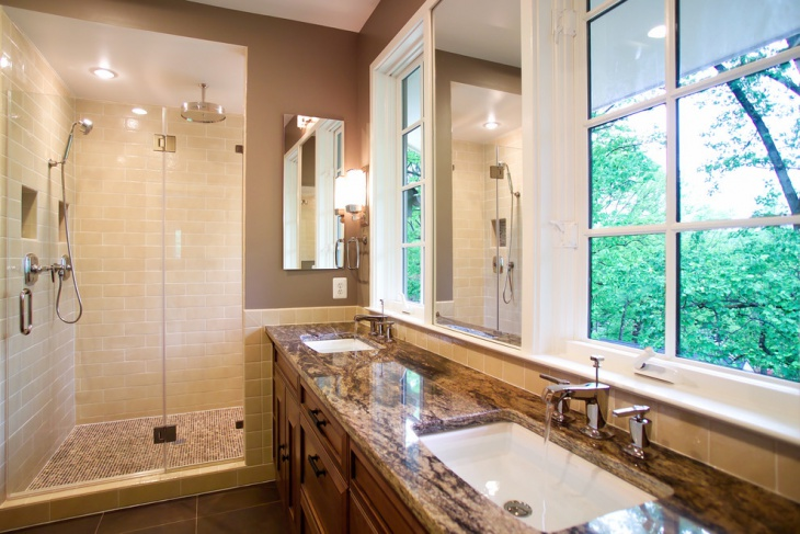 brown color countertop tiles design