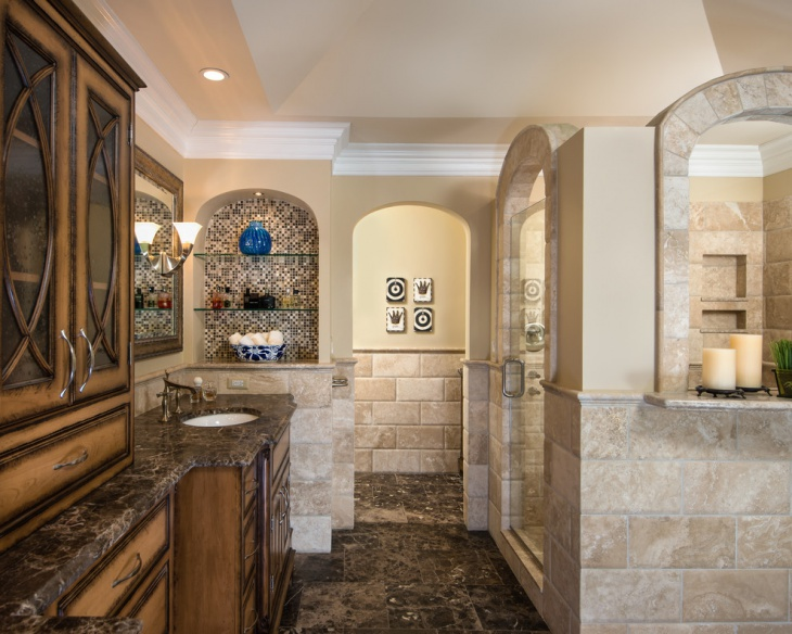 classic bathroom with mosaic tile arched