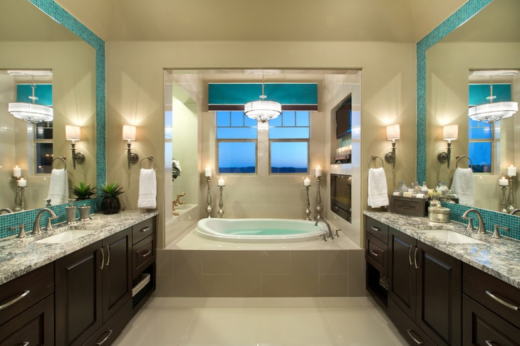luxurious master bathroom with double vanity