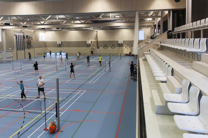 13 badminton courts