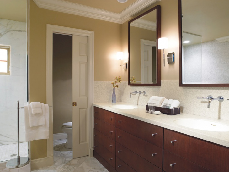 traditional bathroom with white countertop