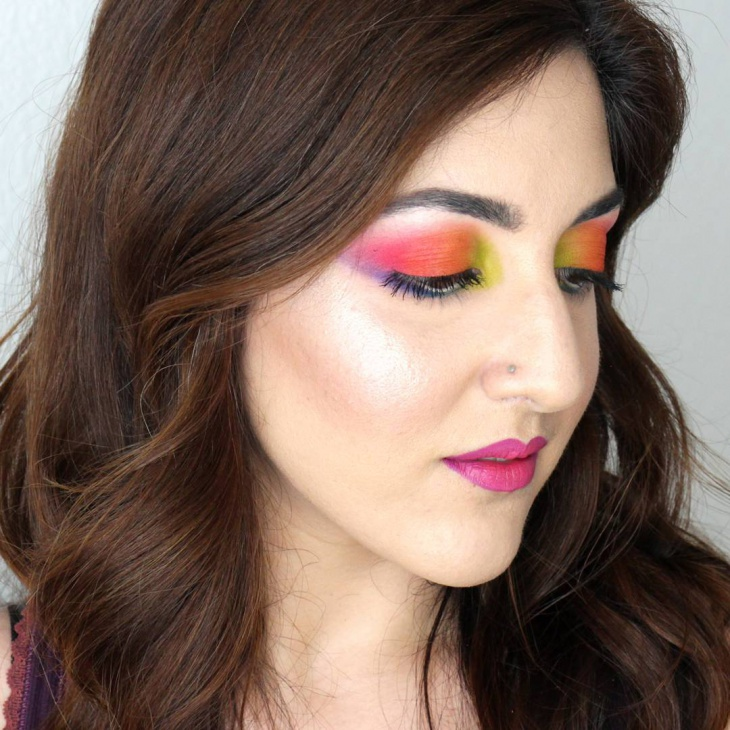 Tropical Sunset Eye Makeup