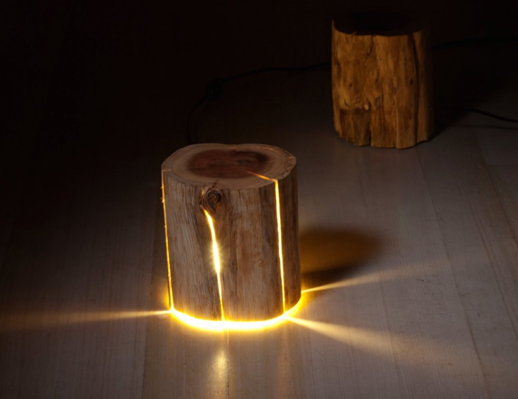 cracked log lamp made from salvaged logs 01