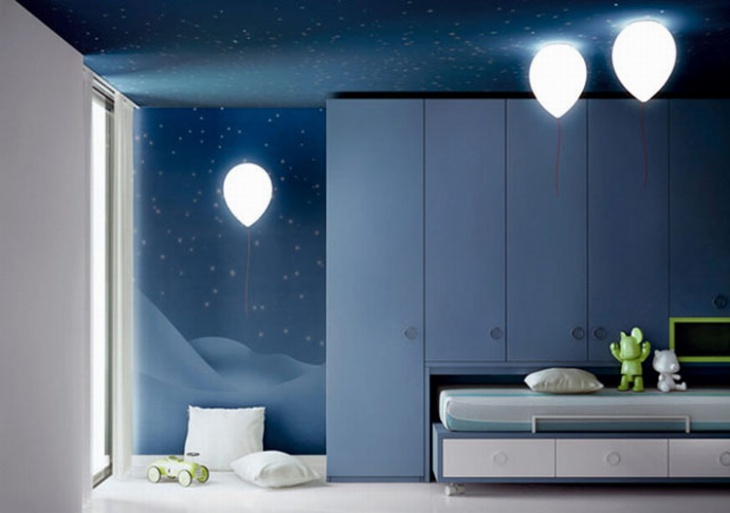 cool space themed kids room with baloon light