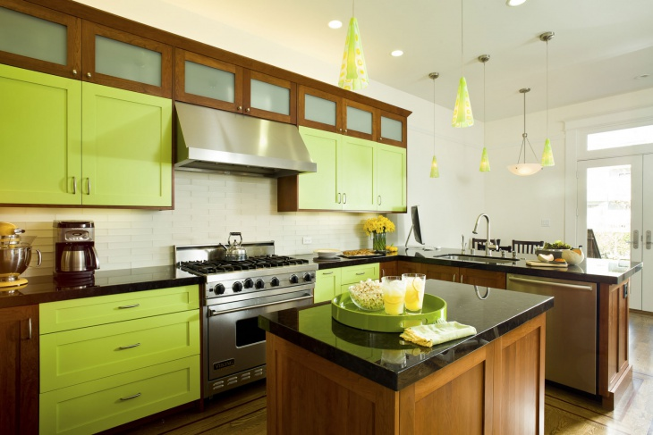 Bright Lime Green Wood Kitchen Storage Design