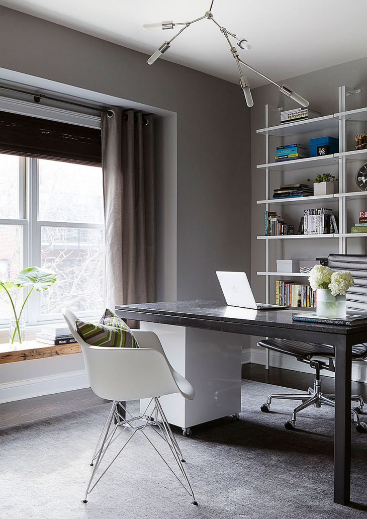 a warm cozy home office design with neutral colors