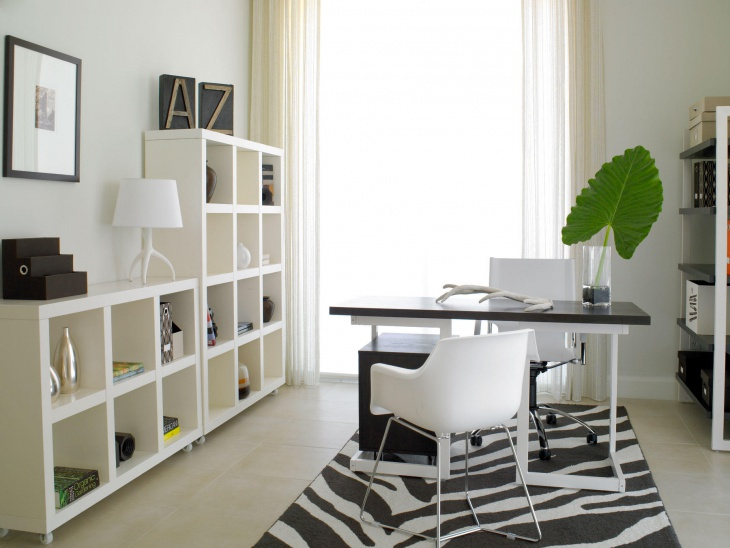 bright nuance and outstanding bookshelves and simple desk on carpet inside home office design