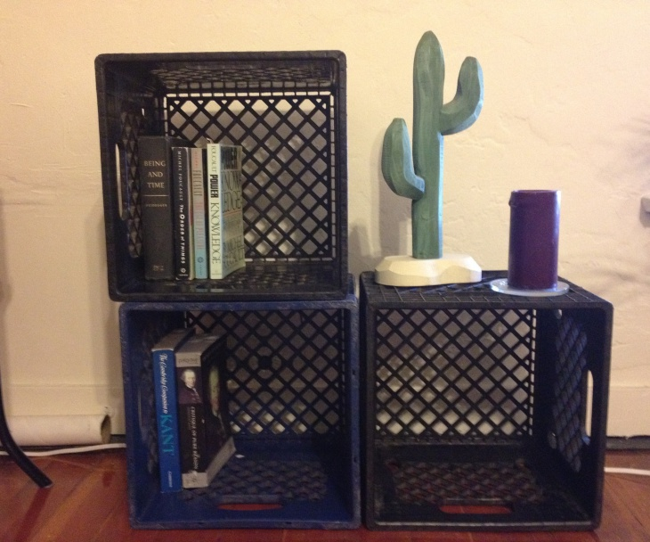 Milk Crates into Book Shelves1