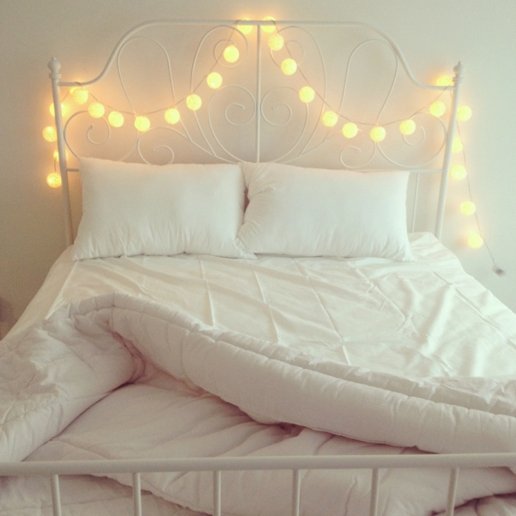 String Lights as Headboard