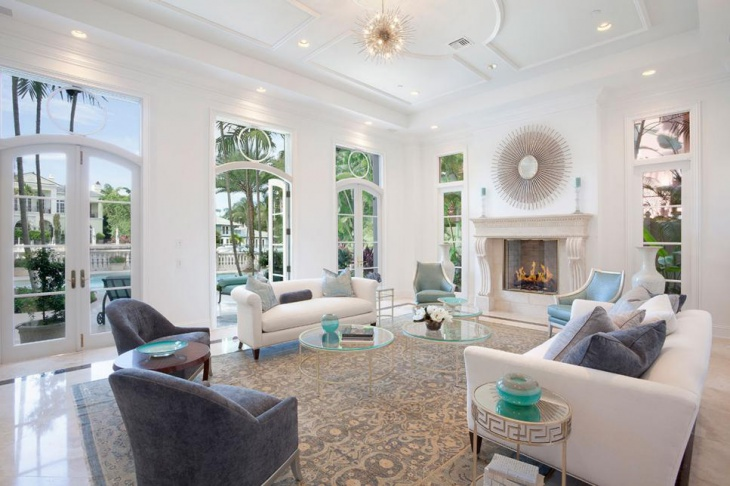 White Living Room With Fire Place