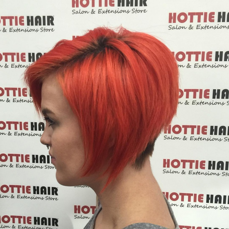 Red Color Stacked Bob