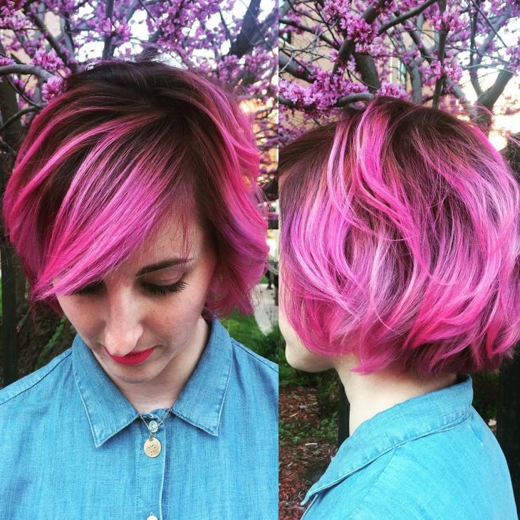 Pink Wavy Edgy Haircut