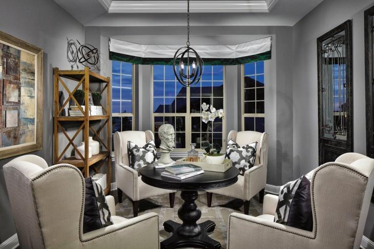 living room with pendant lighting