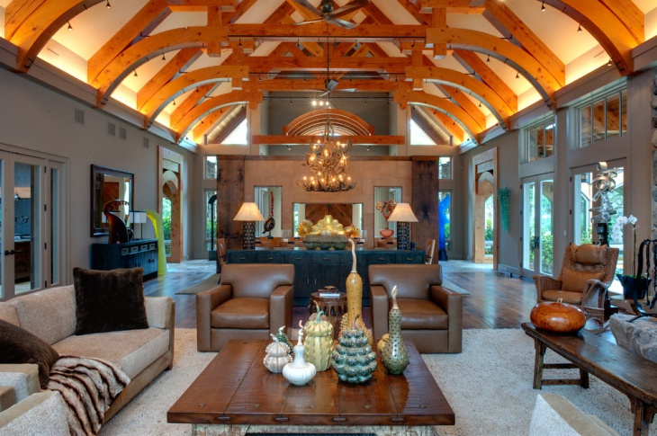 Sectional Living Room With Chandelier.