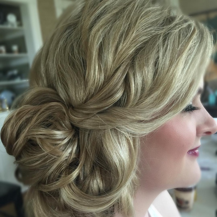 Elegant Side Curly Bun Updo