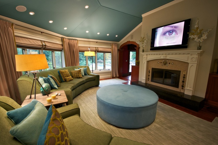 transitional family room interior