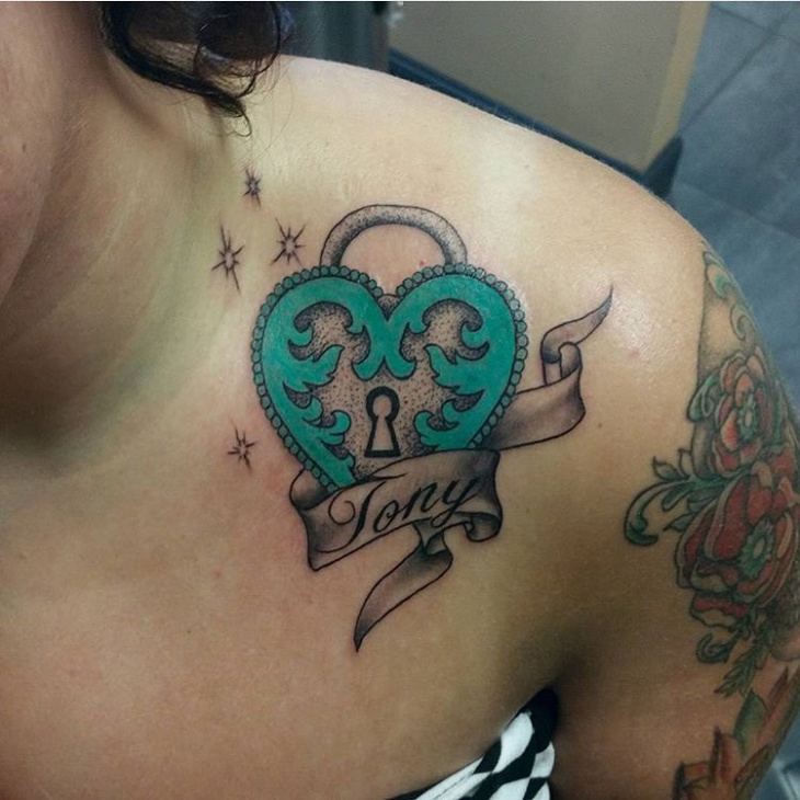 Green Heart Lock Tattoo