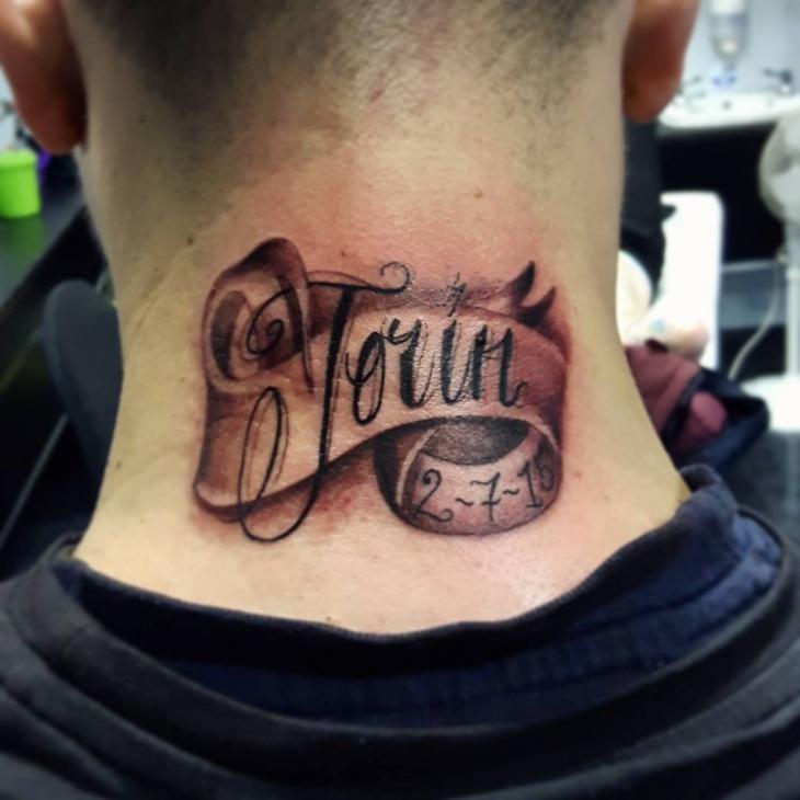 neck banner tattoo