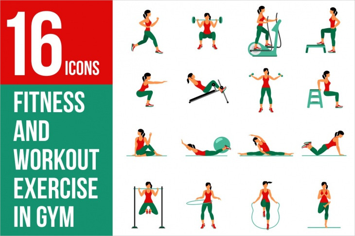 Vector Set of Gym and Exercise Icons