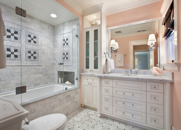 pink and white small bathroom design