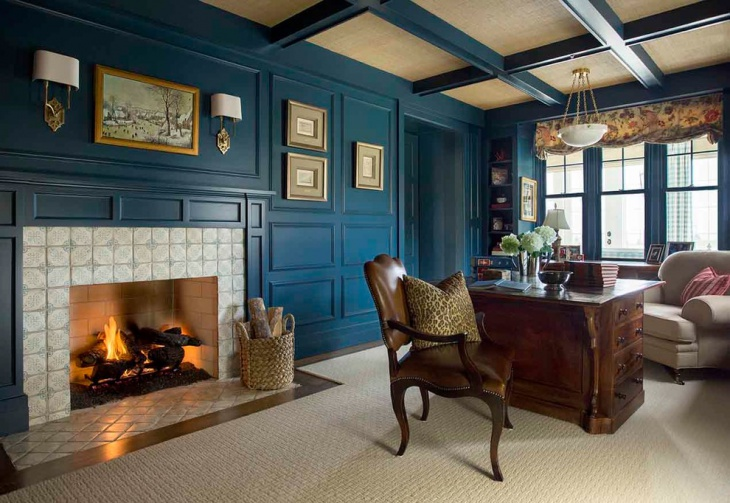 home office with blue interior