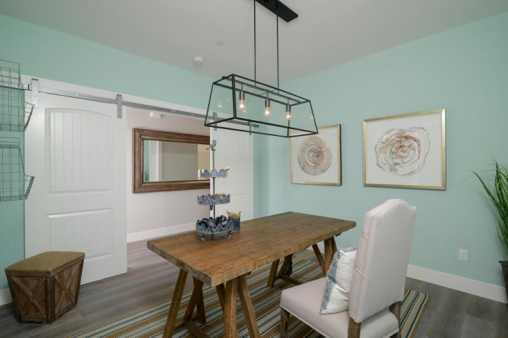 coastal home office with light fixture