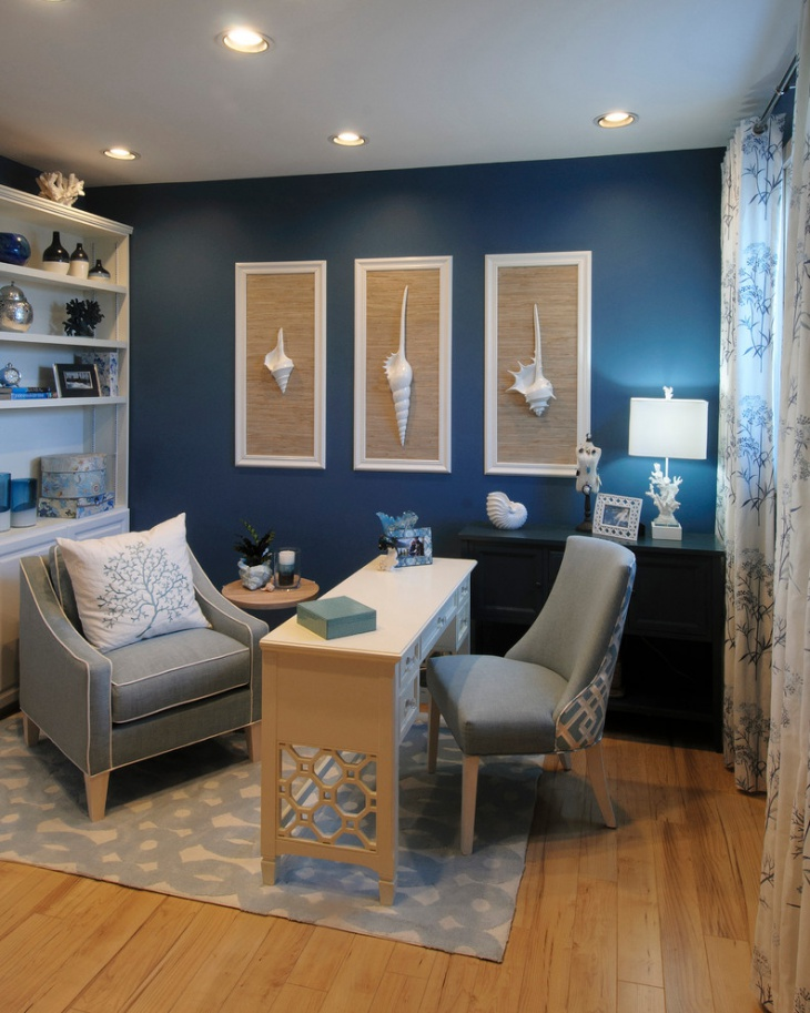 Home Decor Interior Design: 21+ Blue Home Office Designs, Decorating Ideas