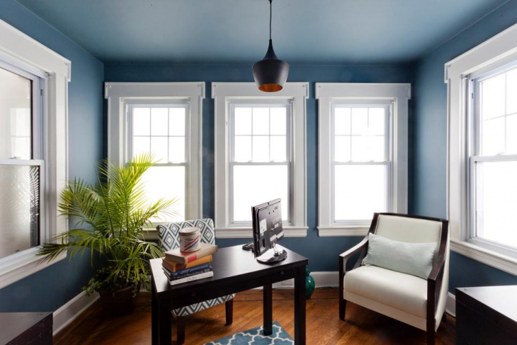 Designing A Home Office renovated farmhouse office Simple Blue Home Office Design