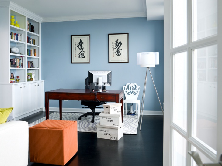 light blue paint home office idea