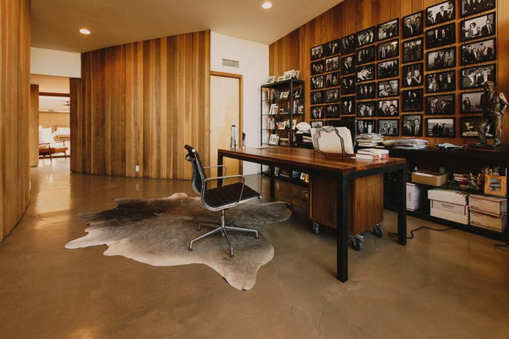 Mid Century Home Office With Wooden Furniture
