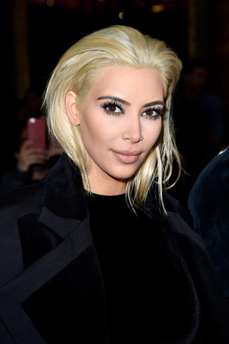 kim kardashian platinum blonde lob