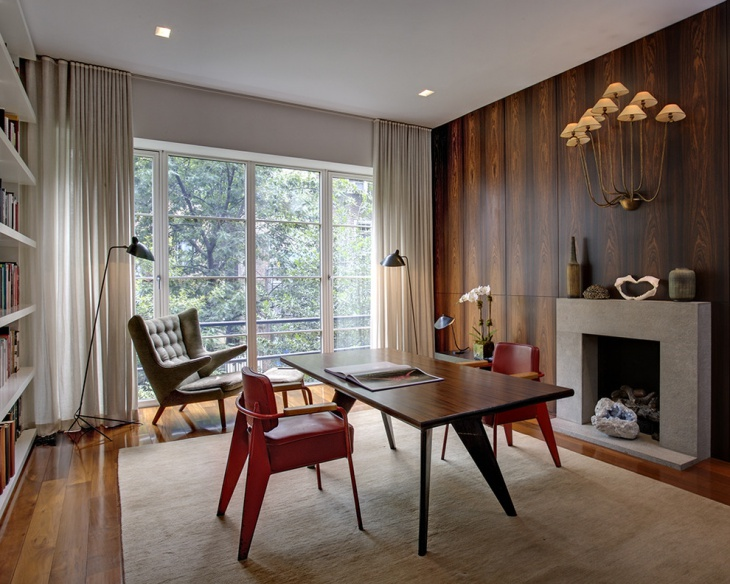 mid century office design with fire place