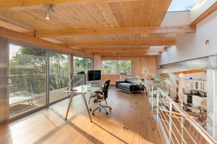 Spacious Home Office with Wooden Roof
